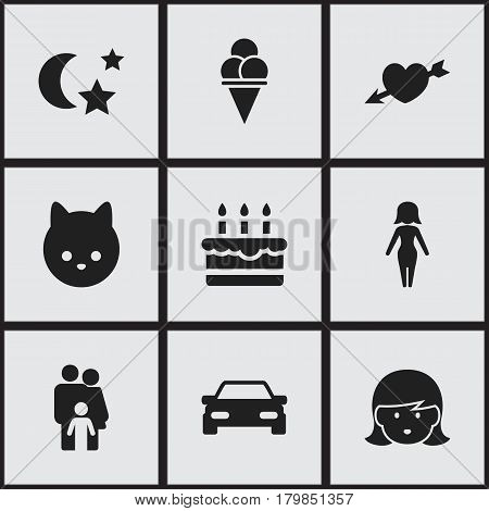 Set Of 9 Editable Folks Icons. Includes Symbols Such As Automobile, Mother, Love And More. Can Be Used For Web, Mobile, UI And Infographic Design.