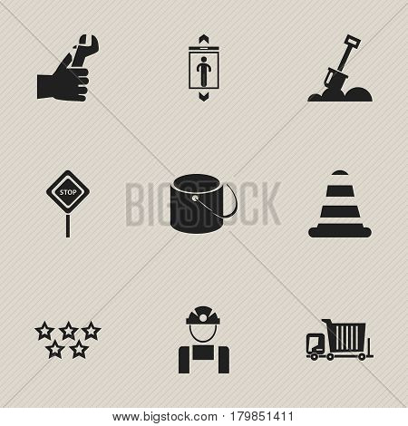 Set Of 9 Editable Building Icons. Includes Symbols Such As Oar, Warning Cone, Pail And More. Can Be Used For Web, Mobile, UI And Infographic Design.