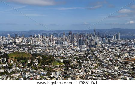 View of San Francisco downtown from Twin Peaks. Panorama.