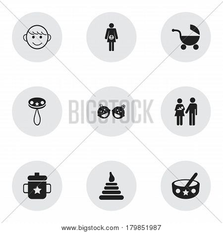 Set Of 9 Editable Baby Icons. Includes Symbols Such As Rattle, Pregnancy, Twins Babies And More. Can Be Used For Web, Mobile, UI And Infographic Design.