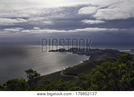 Evening view of Pacific Ocean from the top.