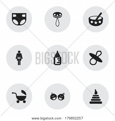 Set Of 9 Editable Kid Icons. Includes Symbols Such As Twins Babies, Rattle, Nappy And More. Can Be Used For Web, Mobile, UI And Infographic Design.