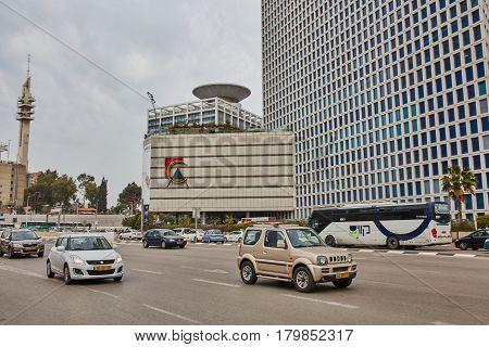 Tel Aviv - February 2, 2017: Tel Aviv Train Station Near Azrieli Mall