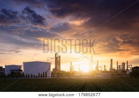 Petrochemical plant (Oil refinery) industry background concept