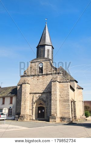 Old church in little French village in the Haute-Vienne