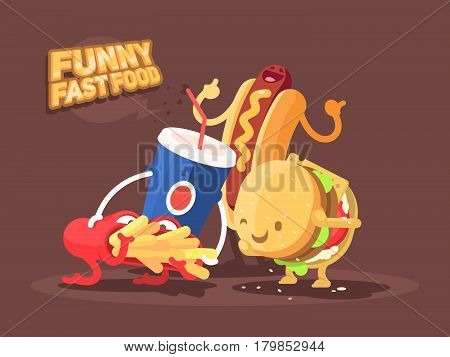 Funny fast food. Characters of french fries, hamburger and soda. Vector illustration