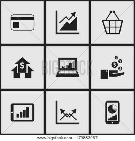 Set Of 9 Editable Statistic Icons. Includes Symbols Such As Banking House, Schema, Progress And More. Can Be Used For Web, Mobile, UI And Infographic Design.