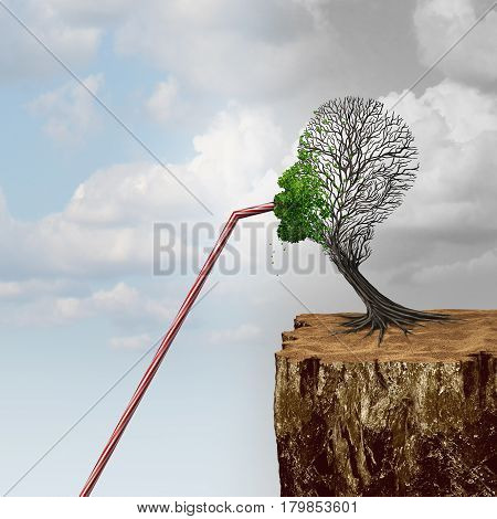 Tapping into new markets and business economic stimulus strategy or environmental conservation or clean water shortage concept as a tree that is at risk of failing finds help using a straw to access assistance with 3D illustration elements.