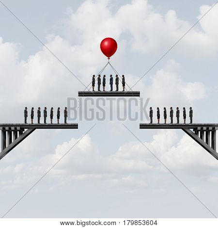Recruitment of employees or losing essential staff business employment concept as people on a bridge being moved by a balloon with 3D illustration elements.
