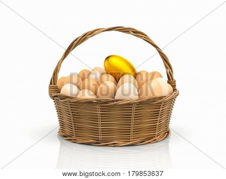 Golden egg! Chicken eggs in rattan basket. 3d illustration