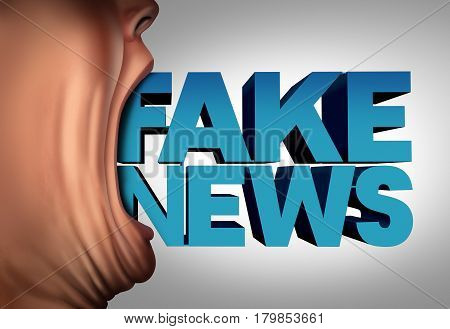 Fake news communication concept and hoax journalistic reporting as a person with text coming out of an open mouth as false media reporting metaphor and deceptive disinformation with 3D illustration elements.