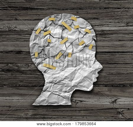 Child psychology and psychiatric therapy for children concept as broken crumpled paper taped together as an education support and medical or counselling treatment metaphor in a 3D illustration style.
