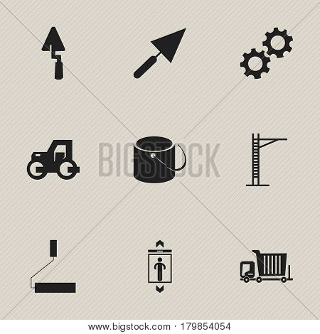 Set Of 9 Editable Construction Icons. Includes Symbols Such As Cogwheel, Hoisting Machine, Caterpillar And More. Can Be Used For Web, Mobile, UI And Infographic Design.