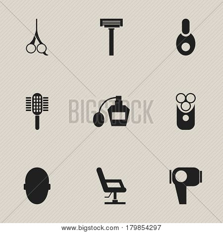 Set Of 9 Editable Barber Icons. Includes Symbols Such As Brains, Elbow Chair, Cutter Apparatus And More. Can Be Used For Web, Mobile, UI And Infographic Design.