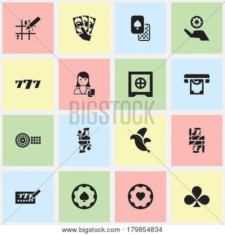 Set Of 16 Editable Excitement Icons. Includes Symbols Such As Woman Gamer, Lottery Ticket, Poker Money And More. Can Be Used For Web, Mobile, UI And Infographic Design.
