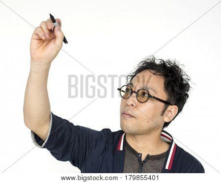Man Writing Plain Board Office