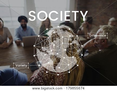 Workers having a meeting together network graphic
