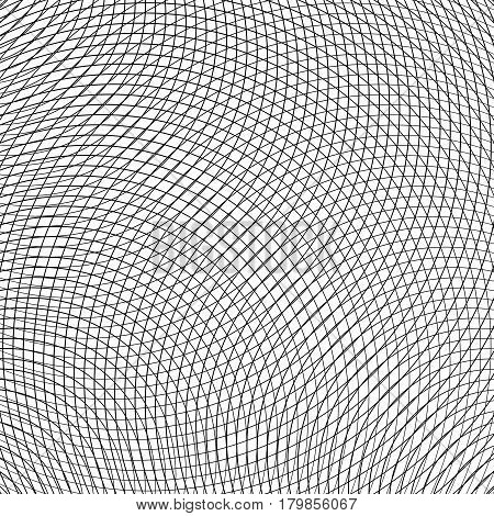 Grid, Mesh Of Circular Thin Lines. Geometric Texture, Pattern. Intersecting Circles
