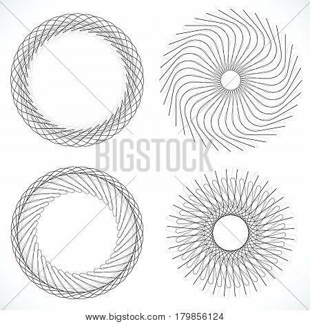 Geometric Circle Element, Circle Motif Random Edgy, Angular Lines. Suitable As Concentric Design Ele