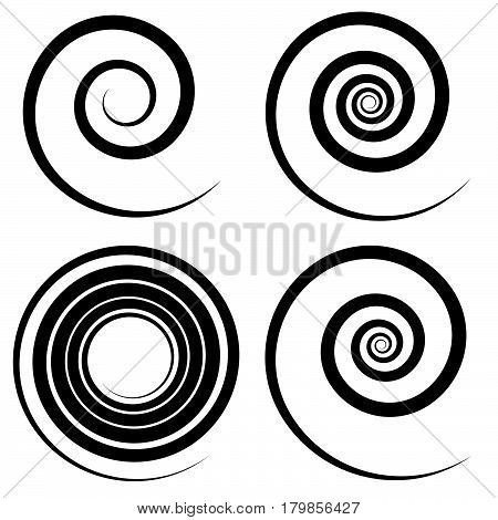 Set Of 4 Spiral Shape, Spiral Design Elements