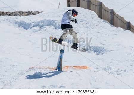 Athlete During The Snowboard National Championships