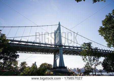 Triborough bridge and the Astoria park with blue sky, New York