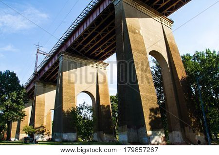 Structure under the Hell Gate Bridge with blue sky, Astoria park, New York