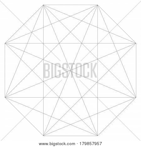Segmented Element With Grid. Geometrical Shape With Network Of Lines. Lattice, Grid, Mesh Inside Of