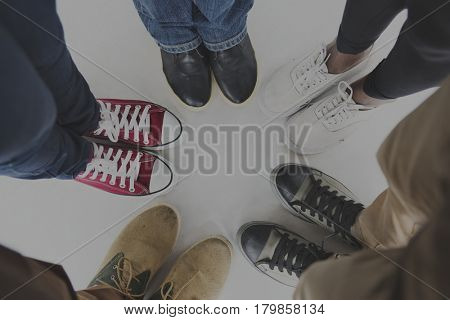 People Standing Together Top View