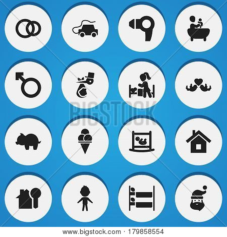 Set Of 16 Editable Family Icons. Includes Symbols Such As Hairdryer, Bunk Bed, Beloveds And More. Can Be Used For Web, Mobile, UI And Infographic Design.