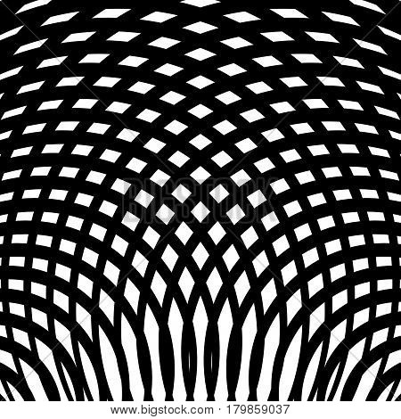 Grid, Mesh Of Curved Lines. Cellular Moire Effect. Abstract Geometric Pattern