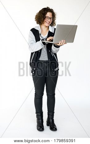 A Student Girl with Laptop