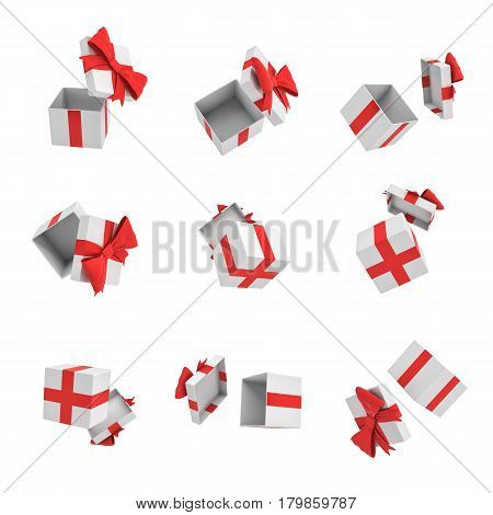 3d rendering of many white gift boxes with open cover and a red bow flying on white background. Promotions and advertisements. Gift template. Birthday.