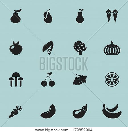 Set Of 16 Editable Dessert Icons. Includes Symbols Such As Chili, Grapevine, Jungle Fruit And More. Can Be Used For Web, Mobile, UI And Infographic Design.