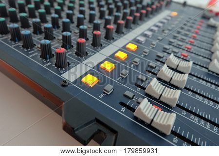 The audio equipment control panel.Close-up, selected focus