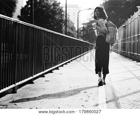 Girl Walking Around Greyscale View