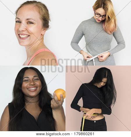 Collection of headshot women with healthy lifestyle