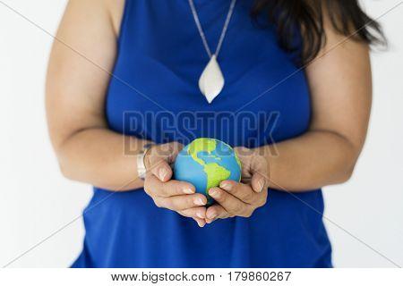 Woman Holding Globe Environmental Conservation