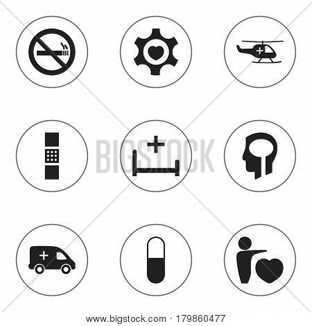 Set Of 9 Editable Care Icons. Includes Symbols Such As Stop Smoke, Intelligence, Drug And More. Can Be Used For Web, Mobile, UI And Infographic Design.