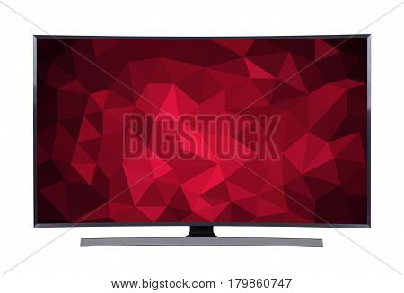 Led Tv With Geometric Screen Isolated On White Background