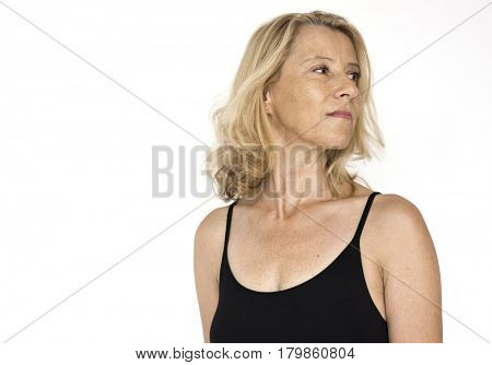 Senior Adult Woman Smiling Happiness Lingerie Studio Portrait