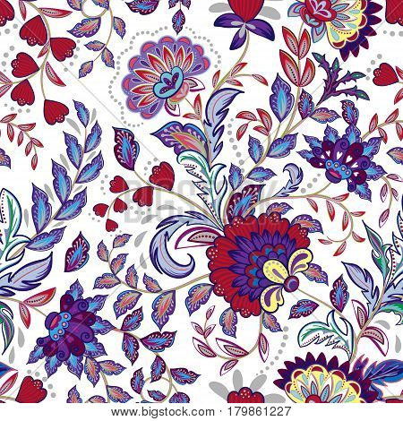 Vintage flowers seamless background in provence style. Vector. Bright violet pattern on whie