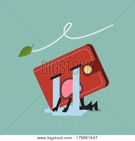 Broke wallet character. Funny vector cartoon emoticons