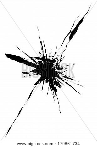 Splash, Splatter Shape Isolated On White. Splattered Fluid Silhouette. Ink Drop Stain Element