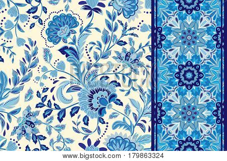 Seamless floral patterns set. Vintage flowers backgrounds and borders. Vector blue ornaments. Gzhel.