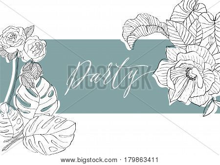 inscription paty on a turquoise background between flowers