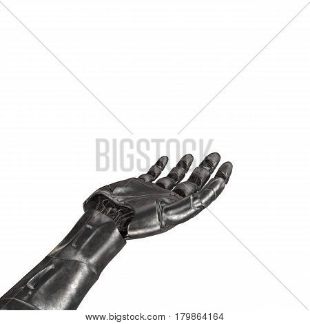 The old robot arm is scratched. 3d max rendering. On a white background