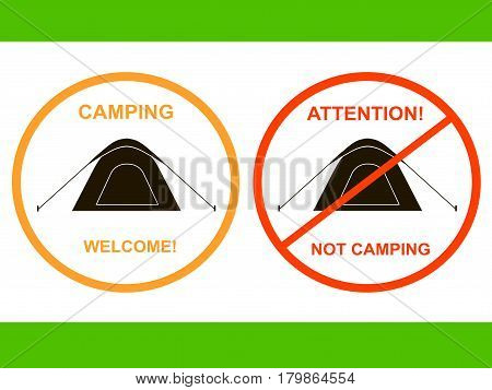 Round camping tent icon Camping Welcome, Attention Not camping stock vector illustration for label