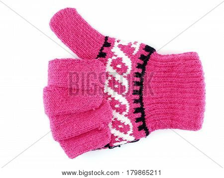winter glove showing hand sign for Praise or Like symbol isolated on white background