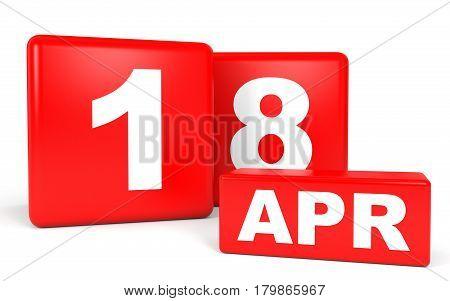 April 18. Calendar On White Background.
